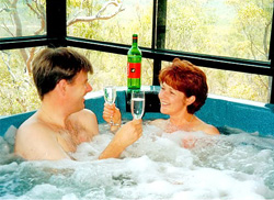 Enjoying a glass of bubbly in the spa