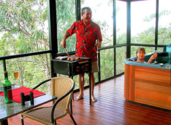All lodges have spacious decks with spas and BBQs.
